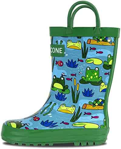 LONECONE Rain Boots with Easy-On Handles in Fun Patterns for Toddlers and Kids, Frog Pond, Little Kid 12