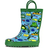 LONECONE Rain Boots with Easy-On Handles in Fun Patterns for Toddlers and Kids, Frog Pond, Toddler 9