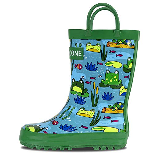 LONECONE Rain Boots with Easy-On Handles in Fun Patterns for Toddlers and Kids, Frog Pond, 1 Little Kid