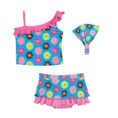 Floral Girls Swim Tankini Top, Bottom, and Headband 18 Mos.