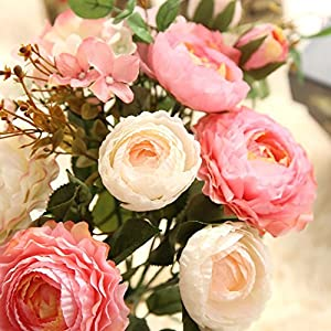 KIRIN Artificial Fake Flowers Plants Silk Rose Flower Arrangements Wedding Bouquets Decorations Plastic Floral Table Centerpieces Home Kitchen Garden Party Décor (Pink Champagne) 5