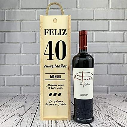 """Caja 1 Botella de vino tinto """"Feliz Cumpleaños"""""""