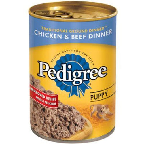 Pedigree Puppy Chopped Ground Dinner with Chicken and Beef Canned Dog Food 13.2 Oz. (Pack of 12)