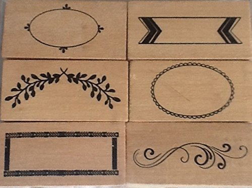 Border Stamp (Borders 2 - Set of 6 Wood Mounted Rubber Stamps - #26529)