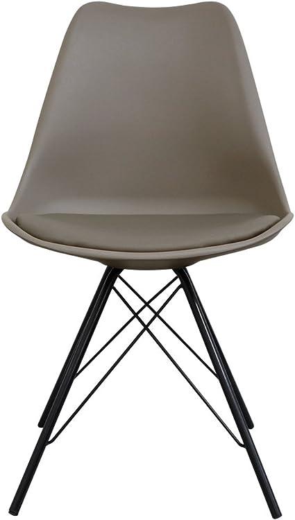 Sedia in stile Tulip, in plastica, con cuscino imbottito in similpelle, gambe nere in metallo, Slate, 49cm wx 45cm dx 82cm h. Seat height 45cm