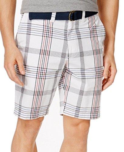 Cheap American Rag Mens Plaid-Print Slim-Fit Belted Shorts White 36