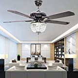RS Lighting American Luxury Crystal Antique Wood 5-Leaves 52 Inch Pull Switch Ceiling Fan for Living Room Bedroom Dining Room Led Fan Chandelier Lighting Fixture (Wood)