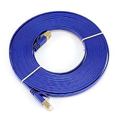 Ethernet Cable Cat6 Plus - Flat High speed Internet Network cable with Cable Clips - Computer Cable With Snagless Rj45 Connectors