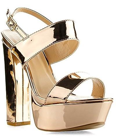 Qupid Women's Velvet Open Toe Ankle Strap Chunky Heel Slingback Platform Pump Heeled Sandals ROSE GOLD - Slingback Platform Heels
