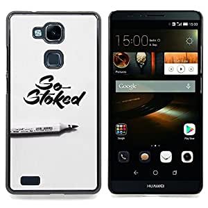 Ihec Tech Stoked Marker Caligrafía Gris Pluma / Funda Case back Cover guard / for HUAWEI Ascend MATE 7
