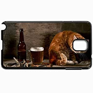 Customized Cellphone Case Back Cover For Samsung Galaxy Note 3, Protective Hardshell Case Personalized Cat Rotation Fish Black