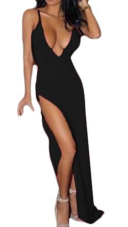 50b0aba7b BSTBUWIN Women Deep V-Neck Sexy High-Cut Cami Blouse Shirt Party Club  Dresses