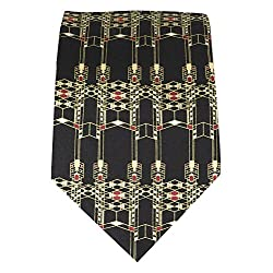 Box Elder Men's Frank Lloyd Wright Robie House Gate Design Silk Tie 1