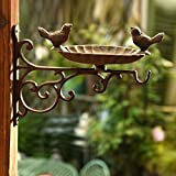 Sungmor Heavy Duty Cast Iron Wall Mounted Bird Feeder,Garden Planter Hanger,Decorative Hanging Flower Pots Holder,Rack,Indoor & Outdoor Decorations