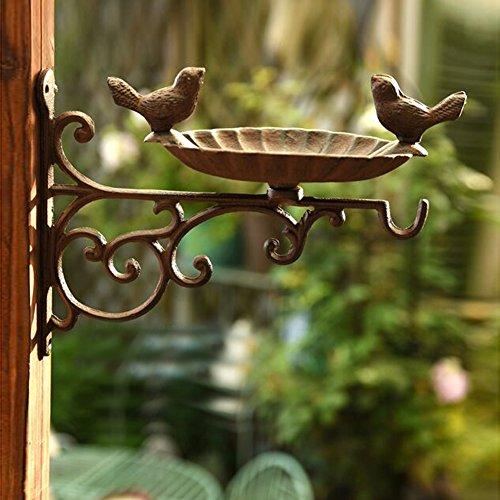 Sungmor Heavy Duty Cast Iron Wall Mounted Bird Feeder,Garden Planter Hanger,Decorative Hanging Flower Pots Holder,Rack,Indoor & Outdoor Decorations by Sungmor