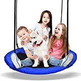 PACEARTH Saucer Tree Swing Seat with Straps and Adjustable Multi-Strand Ropes for Kids Adults
