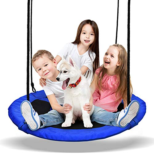 PACEARTH 40'' Saucer Tree Swing Flying 600lb Weight Capacity 2 Added Hanging Straps Adjustable Multi-Strand Ropes Safe Durable Easy Install Swing Seat for Children Adults - Blue ()