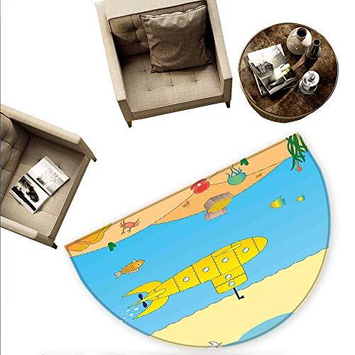 Yellow Submarine Semicircle Doormat Cartoon Under Sea Adventure Jellyfish Treasure Chest Seagull Fish Halfmoon doormats H 55.1