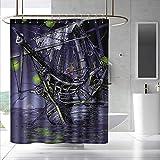 Pirate Ship Shower Curtain&Metal Hooks Ghost Ship on Fantasy Caribbean Ocean Adventure Island Haunted Vessel Fabric Shower Curtain Bathroom W55 x L84 Purple Lime Green