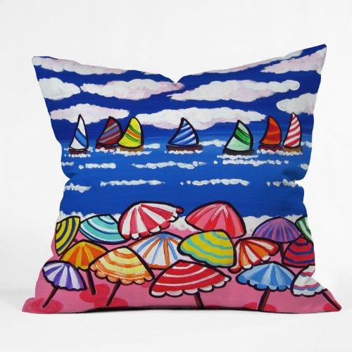 DENY Designs Renie Britenbucher Whimsical Beach Umbrellas Throw Pillow, 16 x 16