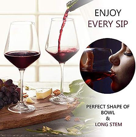 BeEco Copa de Vino Tinto 480ml | Copa de vino grande con tallo largo | Idea de regalo ideal | Producto Ecológico | Juego de 1 | 100% Reciclable