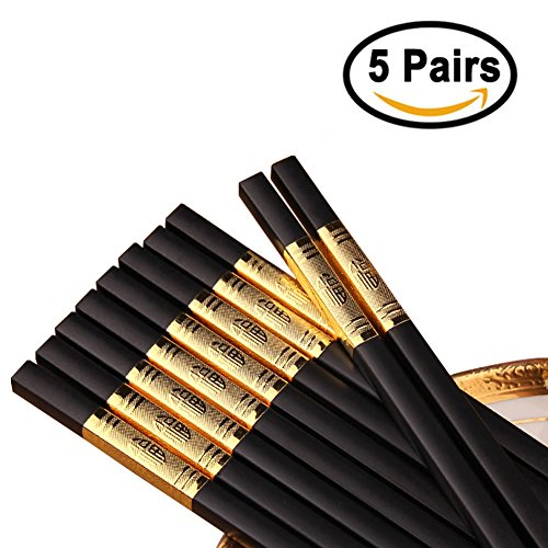 Reusable Alloy Chopsticks,Chinese Style Chopstick With Ideal For Any Asian-Style Dinner Party,Asian Food Sushi Noodle Chop Sticks,Dishwasher Safe Non-Toxic,5 Pairs Gift Set Ancient Chinese Chopsticks