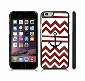 iStar Cases? iPhone 6 Case with Chevron Pattern Red White Stripe Black Anchor , Snap-on Cover, Hard Carrying Case (Black)