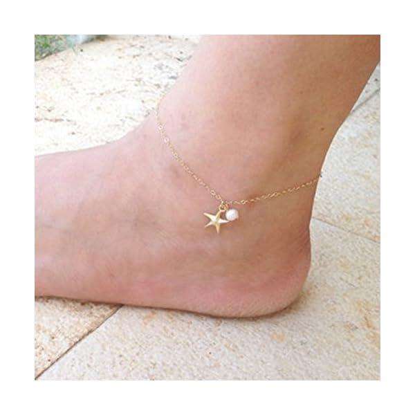 WeiMay 1 x Lovely Starfish Shape cavigliera perla sandalo a piedi nudi accessori da spiaggia piede gioielli 3 spesavip