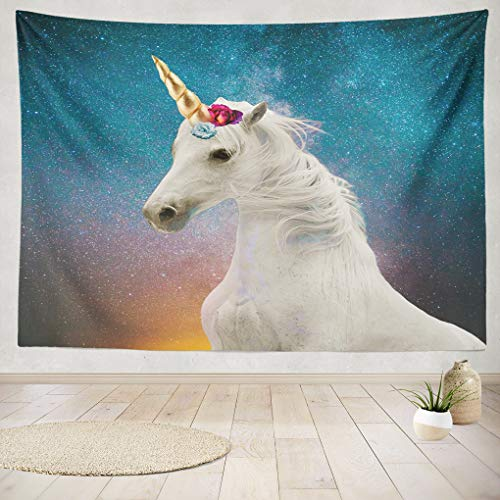 Unicorn Head Colorful Pink Animal Fairy Hanging Tapestries 60 x 80 inch Wall Hanging Decor for Bedroom Livingroom Dorm ()
