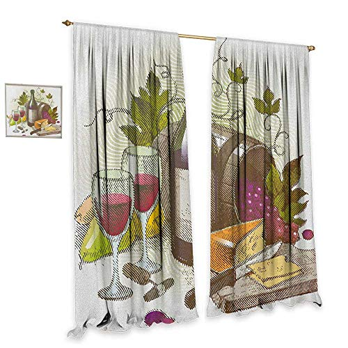homefeel Wine Room Darkening Wide Curtains Vintage Style Composition with Wine and Cheese Fruits Gourmet Taste Beverage and Food Customized Curtains W120 x L84 Multicolor from homefeel