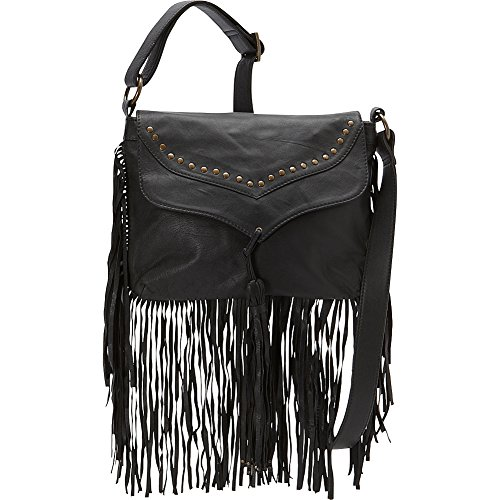 Scully Soft Leather Fringe Crossbody (Black)