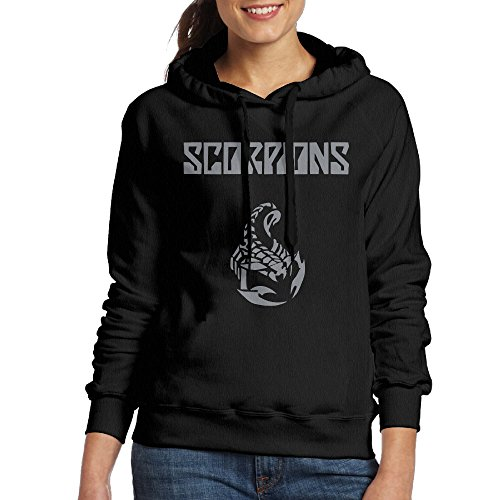 FUOCGH Women's Pullover Scorpions Band Hooded Sweatshirt Black XXL ()