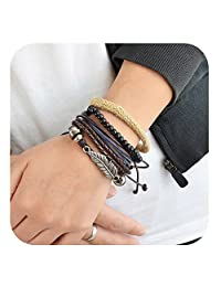 Feelontop® Bohemian Style Multi-layers Pu Leather with Beads Charm Leaf Wrap Bracelet with Jewelry Pouch