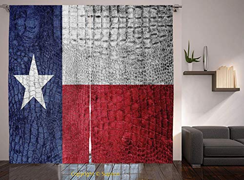 Living Room Bedroom Window Drapes/Rod Pocket Curtain Panel Satin Curtains/2 Curtain Panels/108 x 84 Inch/Western Decor,Texas State Flag Painted on Luxury Crocodile Snake Skin Texture Looking Patriotic