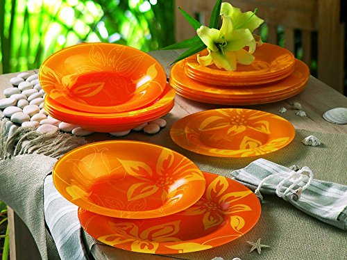 "Luminarc ""Lily Flower"" Tempered Glass 19-Piece Dinner Set, Colored Glass Dinnerware"
