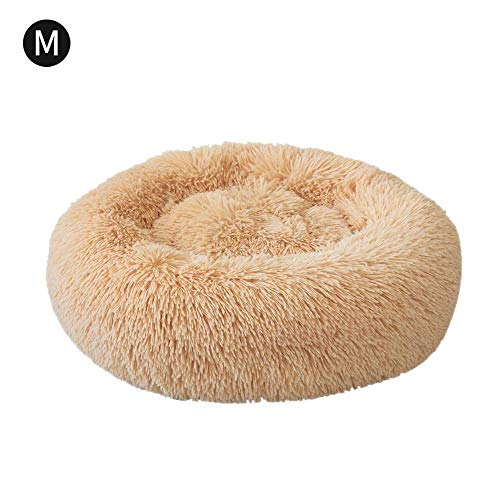 (laamei Dog Cat Bed Round, Pet Bed Cuddler Luxury Faux Fur Puppy Bed Orthopedic Soft Pet Bed Pillow Donut Washable Cat Dog Cushion Bed Medium Khaki -24 Inch)
