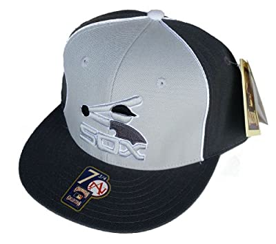 Chicago White Sox Fitted Size 7 3/4 Hat Throwback Logo MLB Authentic Cap - Gray On Gray