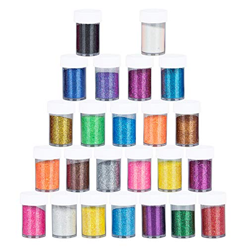 Hakkin 24 Pcs 20g Multi Color Fine Glitter Set, Slime Supplies Glitter for Art Crafts & Painting, Holiday Party Supply, Scrapbook, Nail, Body, Face, Eyeshadow - Supplies Body Painting