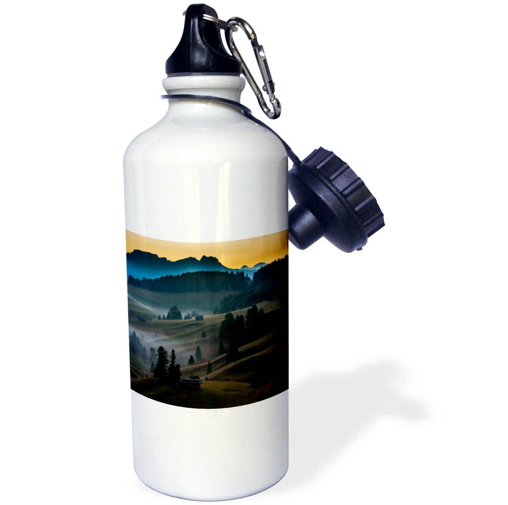3dRose Danita Delimont - Italy - Village on rolling hills as the sun rises over the Dolomites, Italy - 21 oz Sports Water Bottle (wb_277537_1)