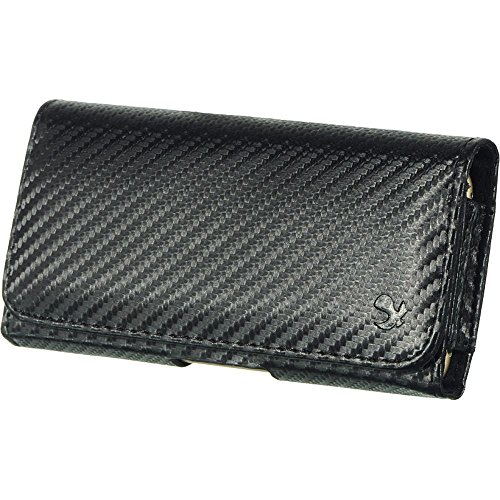 DreamWireless 2367787 Carbon Fiber Leather Belt Clip Case Cover for Samsung Galaxy Note, Black