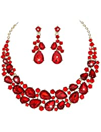Crystal Teardrops Wedding Necklace and Earrings Jewelry Sets for Women Evening Party Dress
