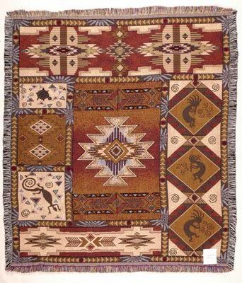 (Simply Home Kokopelli Mid-Size Deluxe Tapestry Throw Blanket USA Made SKU TPM833)