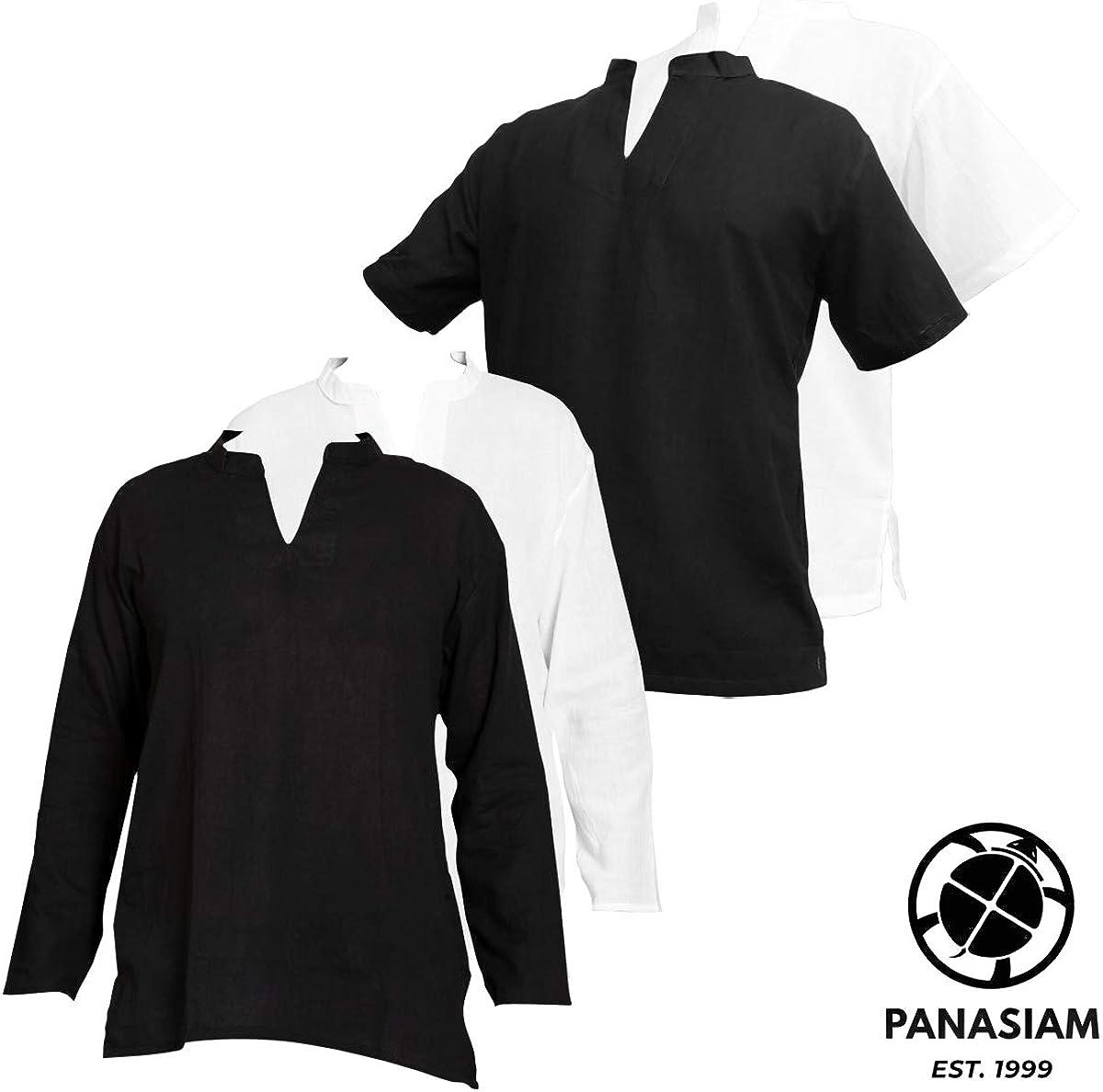 in cotone extra sottile morbido nera e bianca M XL e XXL L PANASIAM Camicia estiva da pescatore fine senza bottoni