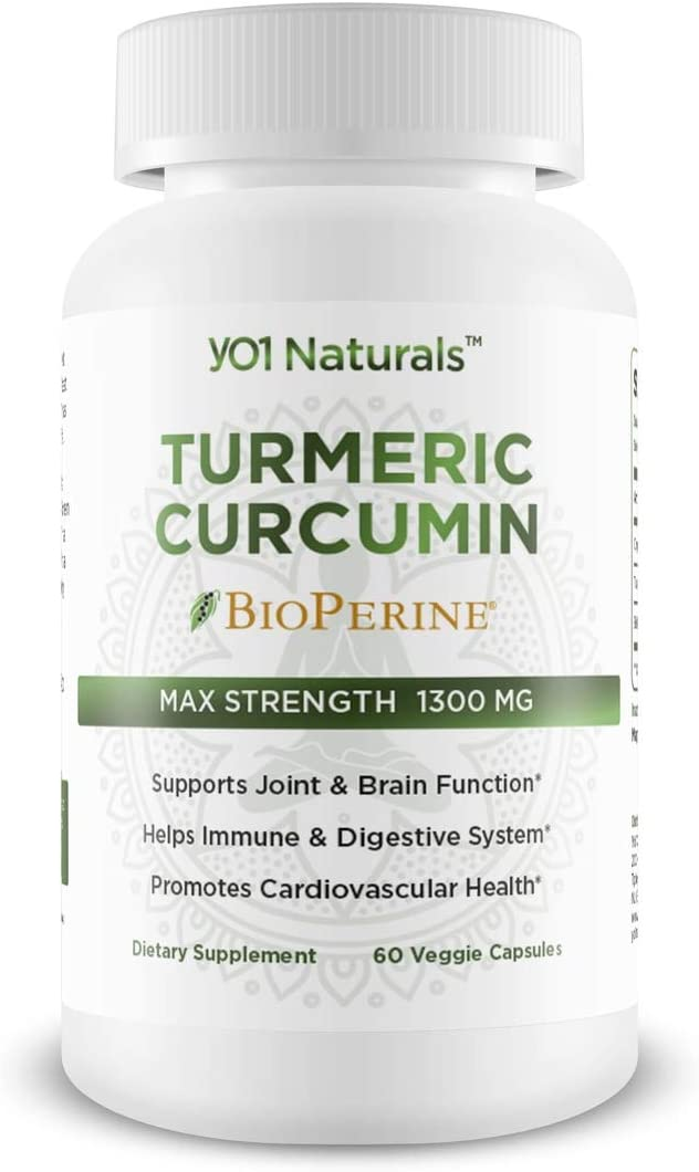 YO1 Naturals Turmeric Curcumin 1300 mg High Potency Dietary Supplement Made Organic Turmeric, Turmeric Curcuminoids BioPerine, 60 Veggie Capsules, Supports Healthy Immunity, Joint Brain Function