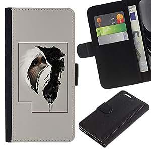 KLONGSHOP // Tirón de la caja Cartera de cuero con ranuras para tarjetas - Hombre tribal cartel misterioso - Apple Iphone 6 PLUS 5.5 //