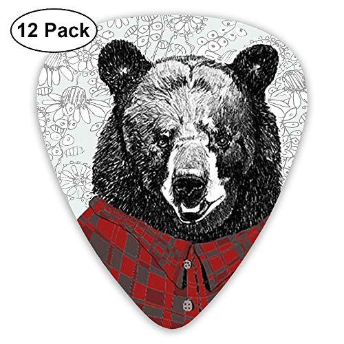 (12-Pack Fashion Classic Electric Guitar Picks Plectrums Drawn Grizzly Bear Instrument Standard Bass Guitarist)