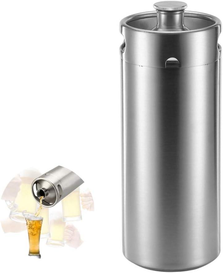 TSQ Barriles de Cerveza de Acero Inoxidable 4l, Grado alimenticio, diseño Seguro, Gran Capacidad, Resistente, Cubierta roscada, Buen Sellado, refrigerado rápido, Resistente