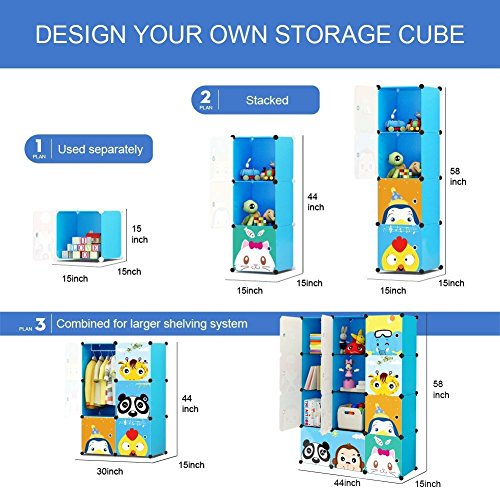 KOUSI Portable Kids Bookshelf Children Toy Organizer Multifuncation Cube Storage Shelf Cabinet Bookcase, Capacious & Study, Blue:12 Cubes by KOUSI (Image #4)