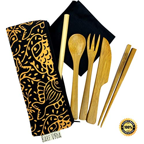 Bamboo Utensil Set with Straw, Napkin & Carry Case by Bare Vida - Knife, Fork, Spoon, Chopsticks, Straw & Napkin - Eco Friendly Gift - 100% Organic Bamboo Cutlery Set - Made in Bali (Black/Yellow)
