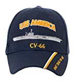 Artisan Owl Officially Licensed USS America CV-66 Embroidered Navy Blue Baseball Cap